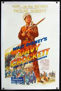 d167 DAVY CROCKETT, KING OF THE WILD FRONTIER linen one-sheet movie poster '55