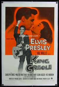 d287 KING CREOLE linen one-sheet movie poster '58 Elvis Presley w/guitar!