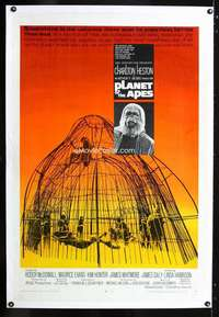 d372 PLANET OF THE APES linen one-sheet movie poster '68 Charlton Heston