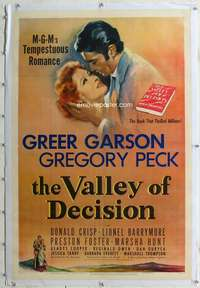 d469 VALLEY OF DECISION linen one-sheet movie poster '45 Greer Garson, Peck