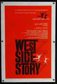 d484 WEST SIDE STORY linen pre-Awards one-sheet movie poster '61