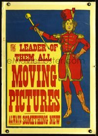1s012 LEADER OF THEM ALL MOVING PICTURES linen special 20x28 c1896 great art of female drum major!