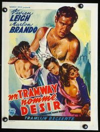1u220 STREETCAR NAMED DESIRE linen Belgian '51multiple different art images of Marlon Brando by Wik!