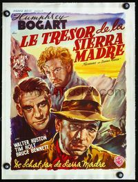 1u223 TREASURE OF THE SIERRA MADRE linen Belgian '48different close up art of Bogart & stars by Wik!