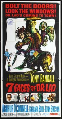 2p095 7 FACES OF DR. LAO 3sheet '64 great art of Tony Randall's personalities by Joseph Smith!