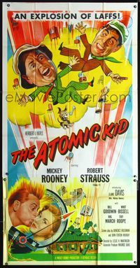 2p098 ATOMIC KID three-sheet poster '55 wacky art of nuclear Mickey Rooney, an explosion of laffs!