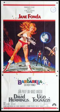 2p099 BARBARELLA three-sheet '68 sexiest sci-fi art of Jane Fonda by Robert McGinnis, Roger Vadim