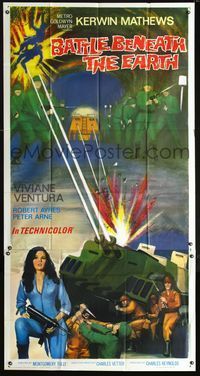 2p100 BATTLE BENEATH THE EARTH 3sheet '68 sci-fi art of sexy Viviane Ventura with soldiers & tank!