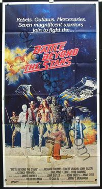 2p101 BATTLE BEYOND THE STARS int'l 3sh '80 cool artwork of the seven magnificent warriors in space!