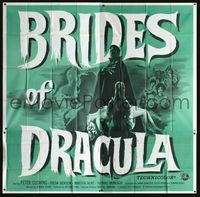 2p088 BRIDES OF DRACULA six-sheet '60 Terence Fisher, Peter Cushing as Van Helsing, wonderful art!