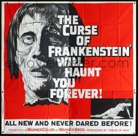 2p089 CURSE OF FRANKENSTEIN six-sheet '57 Peter Cushing, cool enormous close up monster artwork!