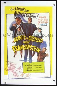 2p004 ABBOTT & COSTELLO MEET FRANKENSTEIN linen 1sh R56 much better artwork image than the original!