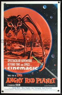 2p005 ANGRY RED PLANET linen 1sheet '60 great artwork of gigantic drooling bat-rat-spider creature!