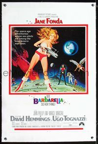 2p006 BARBARELLA linen 1sheet '68 sexiest art of Jane Fonda by Robert McGinnis, Roger Vadim
