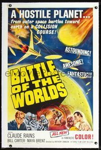 2p007 BATTLE OF THE WORLDS linen 1sheet '61 cool sci-fi, flying saucers from a hostile enemy planet!