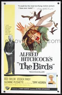 2p008 BIRDS linen one-sheet '63 Alfred Hitchcock shown, art of Tippi Hedren attacked by birds!