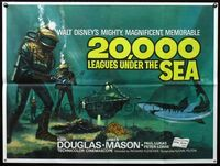 2p171 20,000 LEAGUES UNDER THE SEA British quad R70s Jules Verne classic, wonderful art of divers!