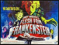 2p172 ANDY WARHOL'S FRANKENSTEIN British quad '74 Flesh for Frankenstein, fantastic horror art!