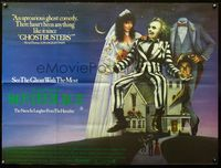 2p173 BEETLEJUICE British quad '88 Tim Burton, art of Michael Keaton, Alec Baldwin & Geena Davis!