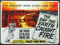 2p174 DAY THE EARTH CAUGHT FIRE British quad '62 really incredible best artwork of burning London!