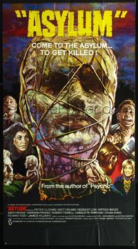 2p097 ASYLUM English three-sheet movie poster '72 Peter Cushing, Britt Ekland, Robert Bloch, horror!