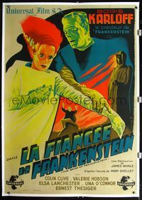 2p038 BRIDE OF FRANKENSTEIN linen French 1p R46 cool Belinsky art of Lanchester & Karloff in makeup!