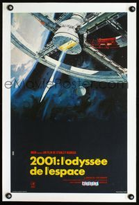 2p044 2001: A SPACE ODYSSEY linen French 15x24 '68 Stanley Kubrick, space wheel art by Bob McCall!