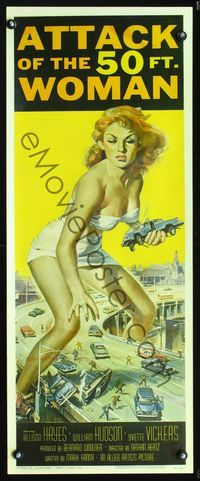 2p142 ATTACK OF THE 50 FT WOMAN insert '58 classic art of enormous sexy Allison Hayes over highway!