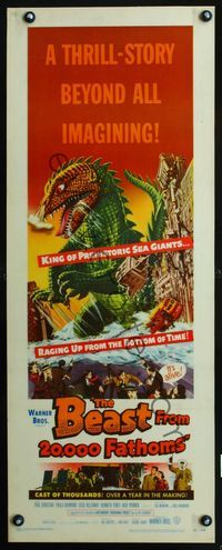 2p143 BEAST FROM 20,000 FATHOMS laminated insert '53 cool art of the king of prehistoric sea giants!