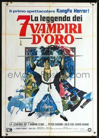 2p219 7 BROTHERS MEET DRACULA Italian one-panel '74 kung fu, black belt vs black magic, cool art!