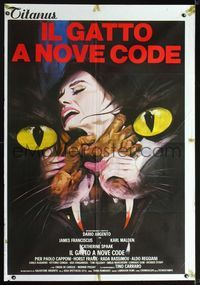 2p223 CAT O' NINE TAILS Italian 1p '71 Il Gatto a Nove Code, Dario Argento, best art by P. Franco!