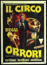 2p224 CIRCUS OF HORRORS Italian one-panel '60 cool artwork of knife thrower & sexy girls attacked!