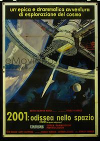 2p251 2001: A SPACE ODYSSEY Cinerama Italian 2p '68 Kubrick, cool art of space wheel by Bob McCall!