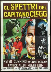 2p257 NIGHT CREATURES Italian 2p '62 art of top cast memebers + skeletons riding skeleton horses!