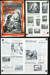 2p301 ANIMAL WORLD movie pressbook '56 great artwork of dinosaurs & erupting volcano!