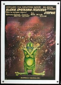 2p046 CLOSE ENCOUNTERS OF THE THIRD KIND linen Polish '77 different art of wacky alien by Pagowski!