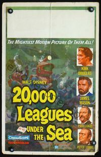 2p150 20,000 LEAGUES UNDER THE SEA window card '55 Jules Verne underwater classic, wonderful art!