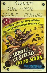 2p151 ABBOTT & COSTELLO GO TO MARS window card '53 art of wacky astronauts Bud & Lou in outer space!