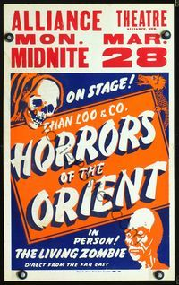 2p065 ALLIANCE THEATRE MON. MAR 28 Spook Show window card '50s The Living Zombie, cool horror art!