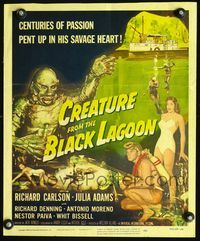 2p153 CREATURE FROM THE BLACK LAGOON WC '54 2-D, great artwork image of monster & scuba divers!