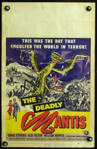 2p154 DEADLY MANTIS WC '57 cool different artwork of the giant insect monster attacking soldiers!