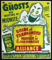 2p061 BRIDE OF FRANKENSTEIN/MURDER IN THE RUE MORGUE Spook Show jumbo WC '40s great wacky ghost art!