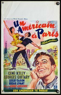 4k007 AMERICAN IN PARIS Belgian '51 wonderful Wik artwork of Gene Kelly dancing with Leslie Caron!