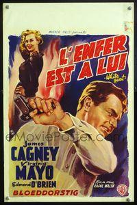 6c740 WHITE HEAT Belgian '49 Wik art of James Cagney as Cody Jarrett, classic film noir!
