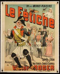 2s137 LE FETICHE linen stage play French 23x32 1890 cool art for Victor Roger's opera production!