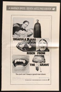 5b350 DRACULA HAS RISEN FROM THE GRAVE pressbook '69 Hammer, Christopher Lee as the vampire!