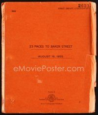 5b292 23 PACES TO BAKER STREET first continuity draft script August 16, 1955, screenplay by Balchin