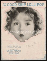 5b249 BRIGHT EYES sheet music '34 super close up of Shirley Temple, On the Good Ship Lollipop!