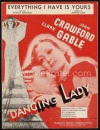5b251 DANCING LADY sheet music '33 Joan Crawford & Clark Gable, Everything I Have Is Yours!