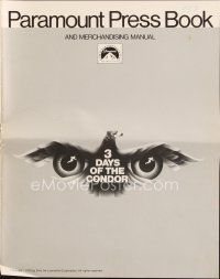 5b323 3 DAYS OF THE CONDOR pressbook '75 secret agent Robert Redford & Faye Dunaway, Pollack!